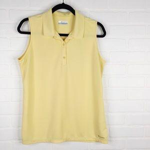 Columbia Sleeveless Polo Yellow 1/4 Button Front